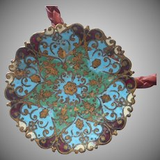 Antique Enamel Button or Hatpin Top Made into Vintage Necklace