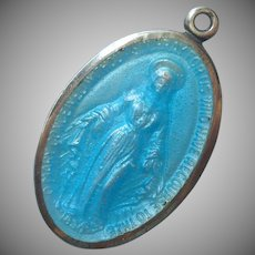 Sterling Silver Blue Enamel Miraculous Medal Vintage Immaculate Conception