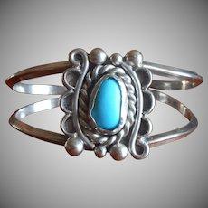 Signed Navajo Vintage Sterling Silver Turquoise Bracelet J. L. Nelson Native American