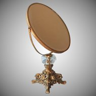 Standing Mirror Vanity Ornate Metal Glass Vintage Swivel Ormolu