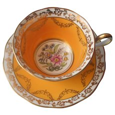 Early Royal Albert Cup Saucer ca 1920 Golden Yellow Hand Painted