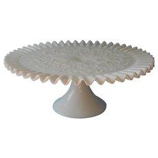 Fenton Cake Stand Pedestal Vintage Milk Glass Spanish Lace Crimped Rim