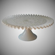 Fenton Cake Stand Pedestal Vintage Milk Glass Spanish Lace Crimped Rim