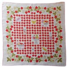 Vintage Hankie 1950s Printed Linen Strawberries Handkerchief