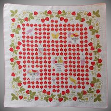 Vintage Hankie 1950s Printed Linen Strawberries Handkerchief