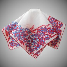 Vintage Hankie Printed Linen Red White Blue Handkerchief