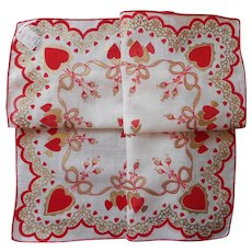 Valentine Hankie Vintage Unused Metallic Print Cotton Hearts Handkerchief