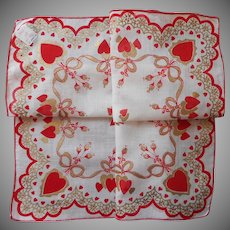 Valentine Hankie Vintage Unused Metallic Print Cotton Hearts Handkerchief