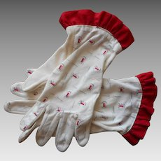 Sewing Print Novelty Gloves Vintage 1940s Red White