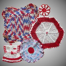 Vintage Crocheted Lace Doilies Duster Coasters Pot Holder Red Kitchen