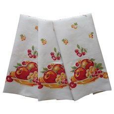 1940s Unused Towels Vintage Printed Kitchen Fruit Print