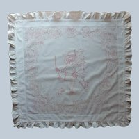 Antique Red Work Embroidery Pillow Sham Boy In Swing TLC