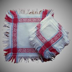 Antique Breakfast Napkins European Fringed Damask Red White Blue Monogram E. R.