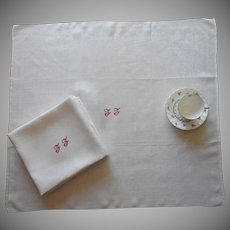 Huge French Napkins Antique Red Work Monogram F. F. or L. L.
