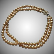 Vintage Glass Faux Pearls Beads Necklace 2 Strand Rhinestone Clasp Choker