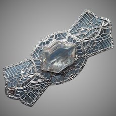 1920s Art Deco Filigree Lace Pin Lacy Vintage Rhodium Clear Glass Stone