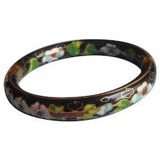 Hinged Cloisonne Enamel Bangle Bracelet Vintage Black Ideal For Hand With Broad Palm