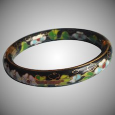 Hinged Cloisonne Enamel Bangle Bracelet Vintage Black Ideal For Hand With Broad Palm