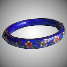 Hinged Cloisonne Enamel Bangle Bracelet Cobalt Blue Vintage Ideal For Hand With Broad Palm
