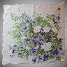 Vintage Hankie Unused Labels Morning Glories Print Cotton Handkerchief