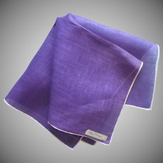 Vintage Hankie Purple Linen Unused Lady Heritage Label Handkerchief
