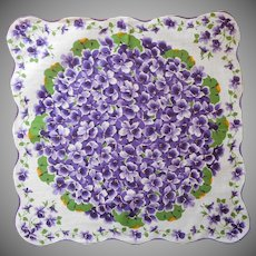 Vintage Hankie Purple Violets Print Cotton Handkerchief