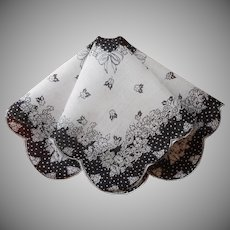 Vintage Hankie Black and White Print Linen Handkerchief