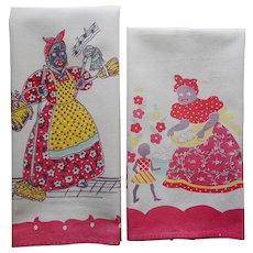 Black Americana Two Vintage Mammy Print Kitchen Towels TLC