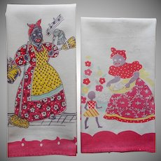 Black Americana Two Vintage Mammy Print Kitchen Towels TLC
