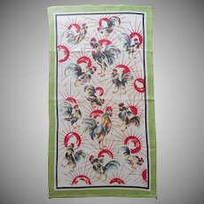 Roosters Towel Vintage Unused Printed Linen Sunrise