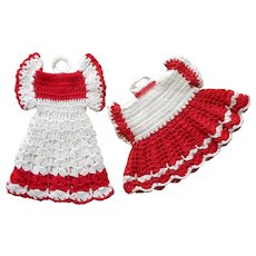 Vintage Pot Holders Potholders Crocheted Red White Kicthen Dresses
