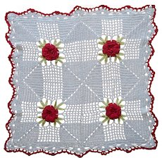 Vintage Doily Square Crocheted Lace Red White Kitchen 3D Flowers