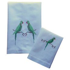 Parrots Hand Embroidery Vintage Pair Towels Guest Fingertip