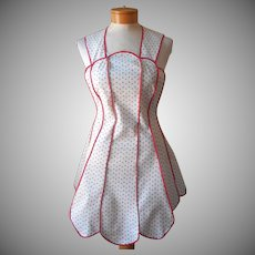 Vintage Apron Full Unused Polka Dots Red White Blue