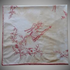 Antique Alsace Red Work Embroidery Tablecloth As Is Storks Mistletoe Holly Birds