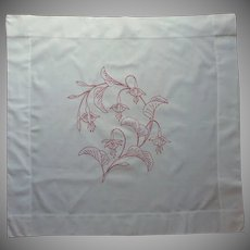 Antique Red Work Embroidery Pillow Sham Fuchsia Flowers Redwork