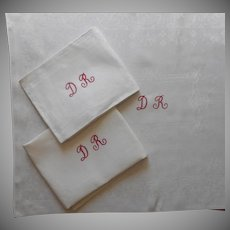 French Monogram D. R. Huge Napkins Antique 3 Informal Damask 31 x 24
