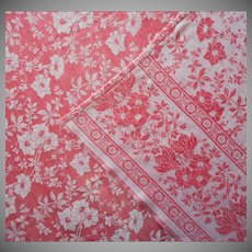 Antique Turkey Red Tablecloth Reversible Floral Damask Weave