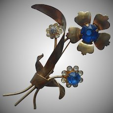 1940s Flower Spray Pin Vintage Blue Plastic Stones Dimestore