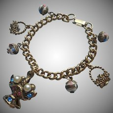 Vintage Charm Bracelet Ventian Glass Beads Flower Baskets Pink Blue