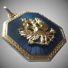 Joan Rivers Pendant Blue Enamel Russian Eagles Classics Collection