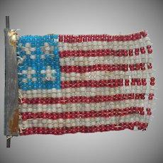 Antique Bead Work American Flag
