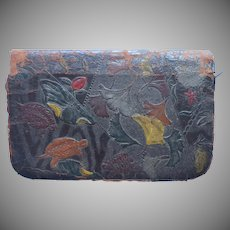 1890s Calling Card Case Antique Leather Ginkgo Turtles TLC