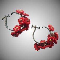 1930s Earrings Red Flowers Vintage Cha Cha Hoop Screw Back