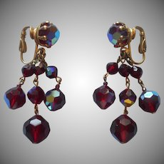 Vintage Earrings Rich Red AB Crystal Beads Dangle Clip Wired