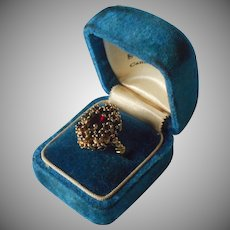 Vintage Faux Garnet Costume Ring 18K Plated Size 6