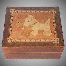 Scottie Westie Dog 1930s Wooden Box Marquetry Vintage Advertising Premium Dogs