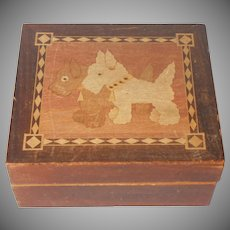 Scottie Westie Dog 1930s Wooden Box Marquetry Vintage Advertising Premium Dogs