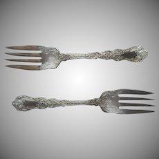 Alhambra 1907 Salad Forks 2 Antique Silver Plated