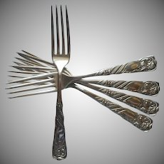 Siren 1891 Antique Silver Plated 5 Forks 7 Inch Female Figure
